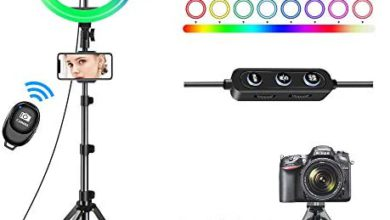 Photo of 10″ Selfie Ring Light with Tripod Stand 62″ & 3 Phone Holders, 42 Color Modes & Stepless Dimmable LED Ring Light for YouTube Video,TikTok,Photography,Makeup,RGB Ring Light for iPhone & Android Phone