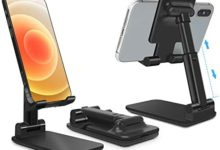 Photo of Phone Stand, CISID Adjustable Portable Cell Phone Holder for Desk Cradle Desktop Stand Compatible with iPhone12 Mini 11 Pro Xs Xs Max Xr X 8 7 6 6s Plus-Black
