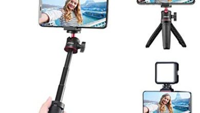 Photo of ULANZI Smartphone Vlogging Kit with Adjustable Handle Grip, Mini Tripod, Dimmable LED Light – YouTube, TIK Tok, Vlogging Equipment for iPhone/Android Smartphone Video Kit (ST-02S)